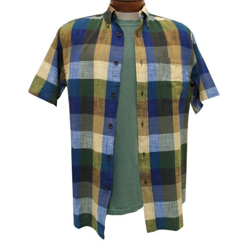 Men's Basic Options Textured Buffalo Plaid Short Sleeve Button Front Shirt, Blue