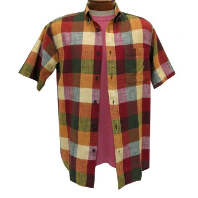 Men's Basic Options Textured Buffalo Plaid Short Sleeve Button Front Shirt, Burgundy