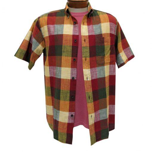 Men's Basic Options Textured Buffalo Plaid Short Sleeve Button Front Shirt, Burgundy