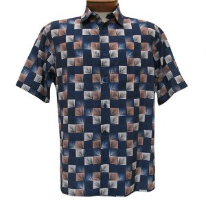 Men's Bassiri Short Sleeve Button Front Microfiber Sport Shirt #3985 Navy (SOLD OUT!)