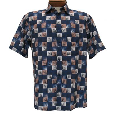 Men's Bassiri Short Sleeve Button Front Microfiber Sport Shirt #3985 Navy