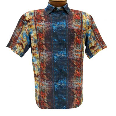 Men's Bassiri Short Sleeve Button Front Microfiber Sport Shirt #3996 Multi