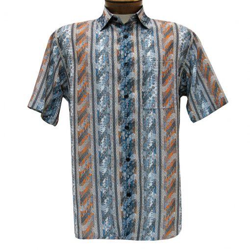 Men's Bassiri Short Sleeve Button Front Microfiber Sport Shirt #5000 Grey