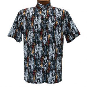 Men's Bassiri Short Sleeve Button Front Microfiber Sport Shirt #5029 Black (XXL, ONLY!)