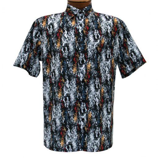 Men's Bassiri Short Sleeve Button Front Microfiber Sport Shirt #5029 Black