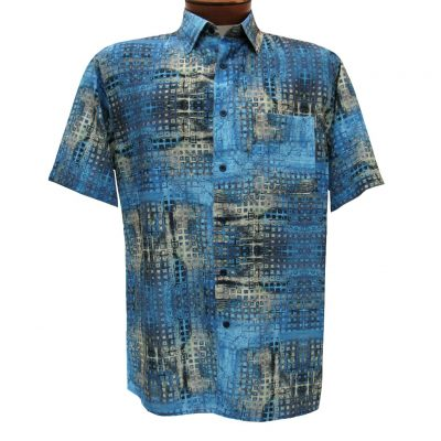 Men's Bassiri Short Sleeve Button Front Microfiber Sport Shirt #61431 Blue