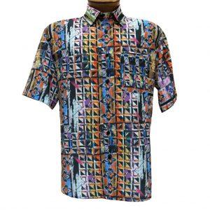 Men's Bassiri Short Sleeve Button Front Microfiber Sport Shirt #62461 Multi (L, ONLY!)