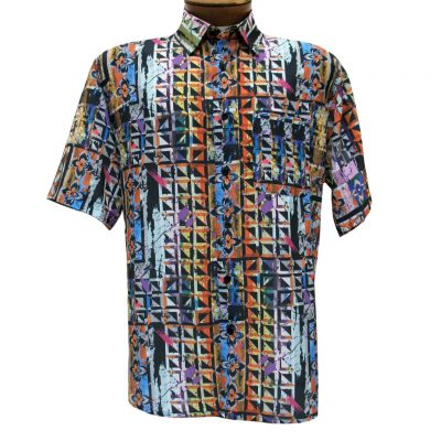 Men's Bassiri Short Sleeve Button Front Microfiber Sport Shirt #62461 Multi