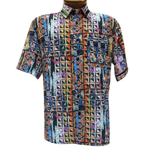 Men's Bassiri Short Sleeve Button Front Microfiber Sport Shirt #62461 Multi