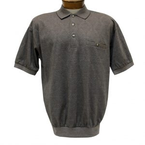 Men's Banded Bottom Shirt, Short Sleeve Diamond Knit, Classics By Palmland #6190-149 Taupe (XXL, ONLY!)