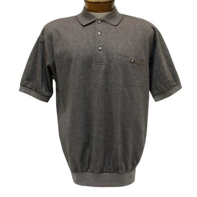 Men's Banded Bottom Shirt, Short Sleeve Diamond Knit, Classics By Palmland #6190-149 Taupe