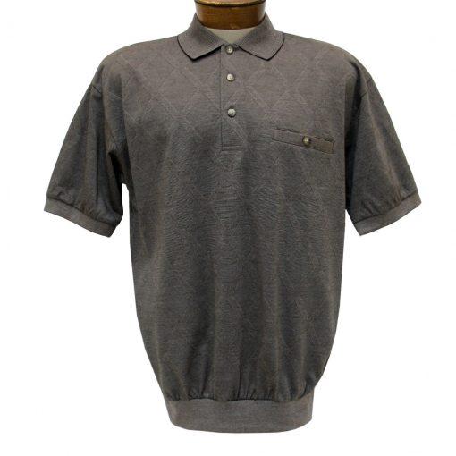 Men's Banded Bottom Shirt, Short Sleeve Diamond Knit, Classics By Palmland #6190-149 Taupe