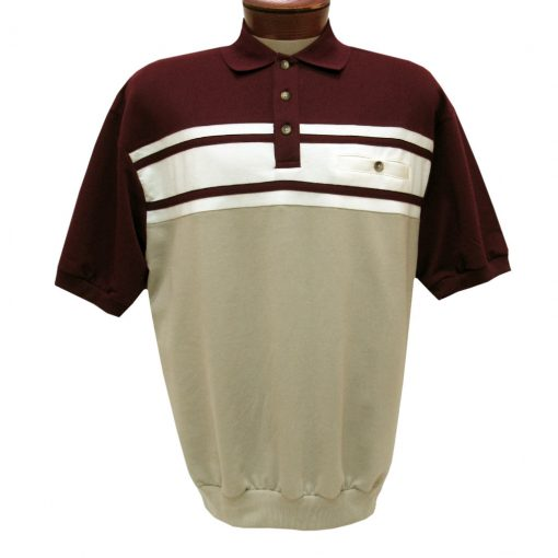 Men's Classics By Palmland Short Sleeve Horizontal French Terry Knit Banded Bottom Shirt #6090-BL1, Burgundy