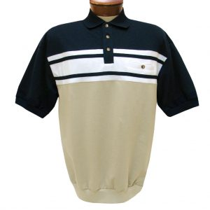 Men's Classics By Palmland Short Sleeve Horizontal French Terry Knit Banded Bottom Shirt #6090-BL1, Navy (SOLD OUT!)