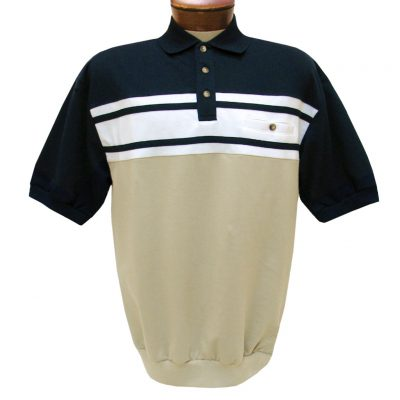 Men's Classics By Palmland Short Sleeve Horizontal French Terry Knit Banded Bottom Shirt #6090-BL1, Navy