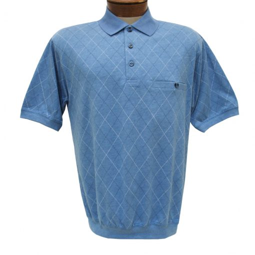 Men's Classics By Palmland 3 Button Short Sleeve Banded Bottom Knit Shirt #6070-351 Blue Heather