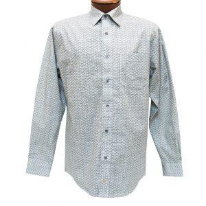 Men's F/X Fusion Long Sleeve 100% Cotton Summer Weight Sport Shirt, Blak/Grey Square Print #C154