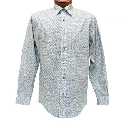 Men's F/X Fusion Long Sleeve 100% Cotton Summer Weight Sport Shirt, Blak/Grey Square Print #C154
