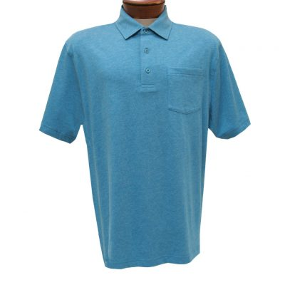 Men's Jon Randall Collection By F/X Fusion Short Sleeve Silk/Cotton Knit Polo Shirt, #JK101 Aqua