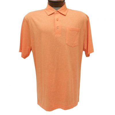 Men's Jon Randall Collection By F/X Fusion Short Sleeve Silk/Cotton Knit Polo Shirt, #JK101 Coral