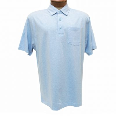 Men's Jon Randall Collection By F/X Fusion Short Sleeve Silk/Cotton Knit Polo Shirt, #JK101 Sky