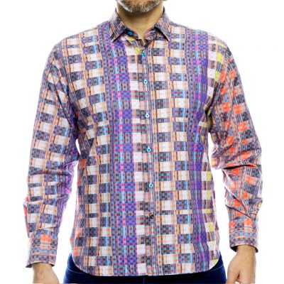 Men's Luchiano Visconti,Sport Edition Long Sleeve Box Check Woven Sport Shirt, #4089 Multi