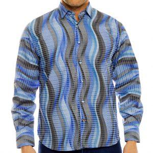 Men's Luchiano Visconti Long Sleeve Vertical Stripe Sport Shirt, #4080 Blue (XL, ONLY!)