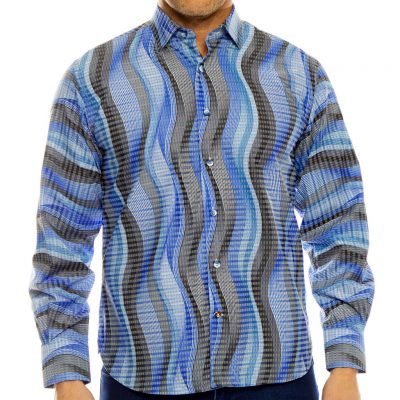 Men's Luchiano Visconti,Sport Edition Long Sleeve Vertical Stripe Sport Shirt, #4080 Blue