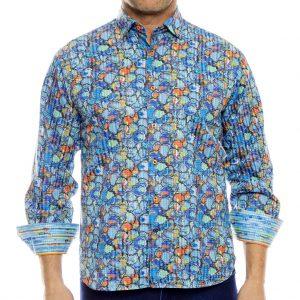 Men's Luchiano Visconti, Sport Edition Long Sleeve Watercolor Blot Sport Shirt, #4070 Multi