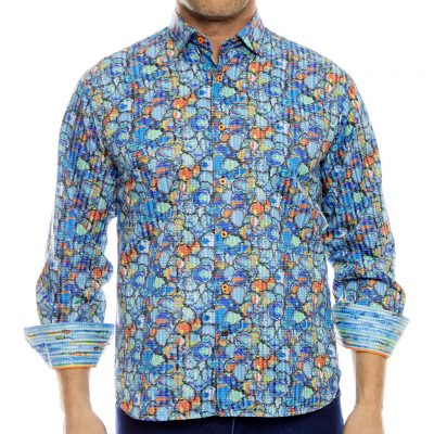 Men's Luchiano Visconti, Sport Edition Long Sleeve Watercolor Blot Sport Shirt, #4070 Multi