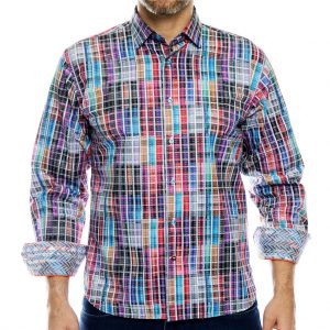 Men's Luchiano Visconti Long Sleeve Window Check Sport Shirt, #4091 Multi (M & XL, ONLY!)