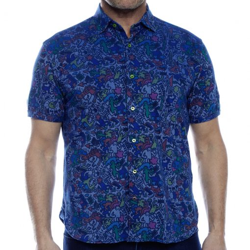 Men's Luchiano Visconti Sport Edition Knit Short Sleeve Fancy Sport Shirt, #40116 Multi