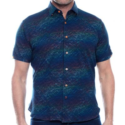 Men's Luchiano Visconti Sport Edition Knit Short Sleeve Fancy Sport Shirt, #40117 Multi