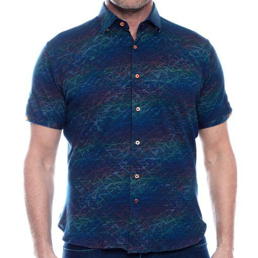 Men's Luchiano Visconti Sport Edition Knit Short Sleeve Fancy Sport Shirt, #40117 Multi