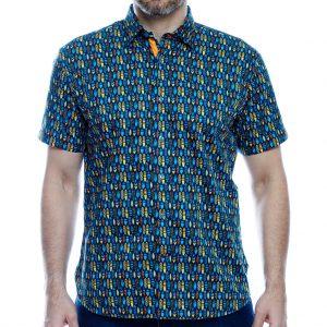 Men's Luchiano Visconti Sport Edition Short Sleeve 100% Cotton Sport Shirt, #40131 Multi