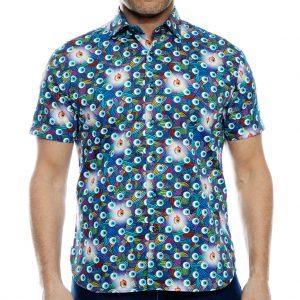 Men's Luchiano Visconti Sport Edition Short Sleeve 100% Cotton Sport Shirt, #40132 Multi