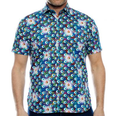 Men's Luchiano Visconti Sport Edition Short Sleeve 100% Cotton Sport Shirt, #40132 Multi