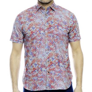 Men's Luchiano Visconti Sport Edition Short Sleeve 100% Cotton Sport Shirt, #40138 Multi (L, ONLY!)