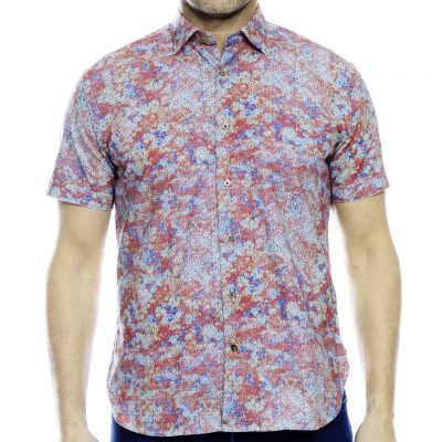 Men's Luchiano Visconti Sport Edition Short Sleeve 100% Cotton Sport Shirt, #40138 Multi