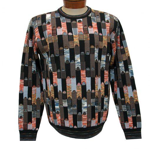 Men's Montechiaro Made in Italy Long Sleeve Merino Wool Blend Textured Crew Neck Sweater #18120410 Mocha