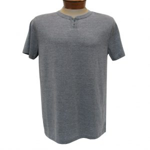 Men's R. Options by Basic Options Short Sleeve Washed Notch Henley Pigment Dye Shirt, Charcoal (XL, ONLY!)