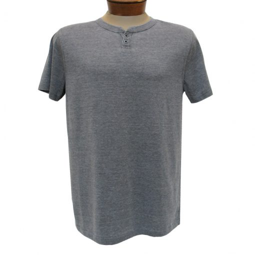 Men's R. Options by Basic Options Short Sleeve Washed Notch Henley Pigment Dye Shirt, Charcoal