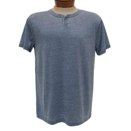 Men's R. Options by Basic Options Short Sleeve Washed Notch Henley Pigment Dye Shirt, Denim
