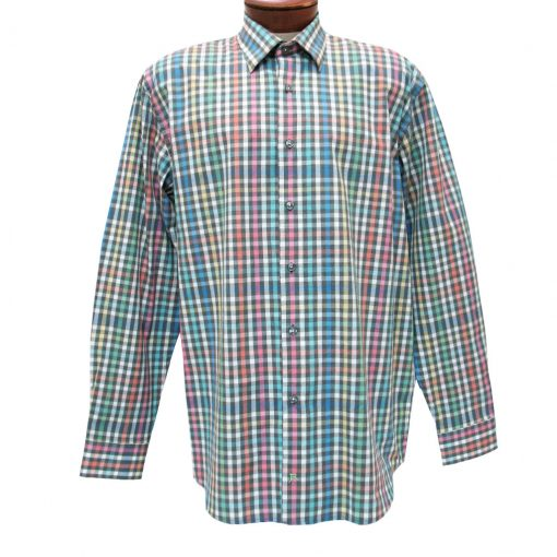 Men's Jon Randall Collection By F/X Fusion Sport Shirt, 100% Cotton Long Sleeve Summer Weight, Rainbow Plad #J762