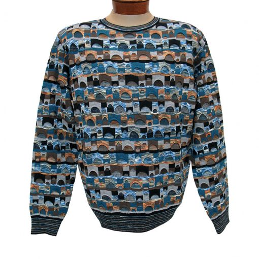 Men's Montechiaro Made in Italy Long Sleeve Merino Wool Blend Textured Crew Neck Sweater #201288 Blue Marled