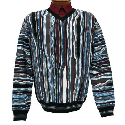 Men's Montechiaro Made in Italy Long Sleeve Merino Wool Blend Textured V-Neck Sweater #201206 Wine Multi