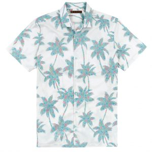 Men's Tori Richard Brown Label Cotton Lawn Relaxed Fit Short Sleeve Shirt, Carnaby Palm #ME08 White (L, ONLY!)