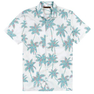 Men's Tori Richard Brown Label Cotton Lawn Relaxed Fit Short Sleeve Shirt, Carnaby Palm #ME08 White