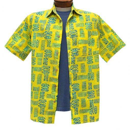 Men's Basic Options Batik Short Sleeve 100% Cotton Button Front Shirt, #61843-9 Yellow