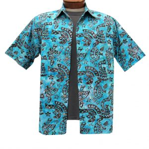 Men's Basic Options Batik Short Sleeve 100% Cotton Button Front Shirt, #61844-7 Brown/Blue (L, ONLY!)